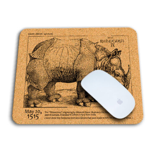 Rhinocerus cork mousepad with mouse