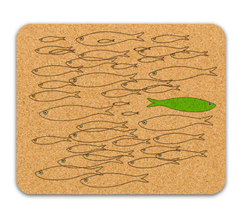 Green sardine cork mousepad