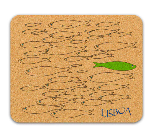 Green sardine cork mousepad with Lisboa