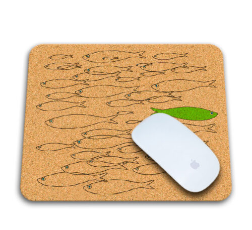 Green sardine cork mousepad with mouse