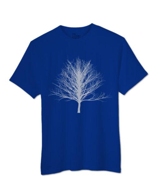 Silver Winter Tree T-shirt royal blue colour creativelisbon