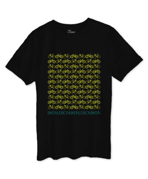 Bike in Lisbon Black T-shirt yellow printing