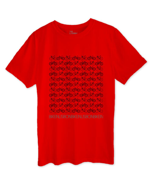 Bike in Lisbon Red T-shirt black printing
