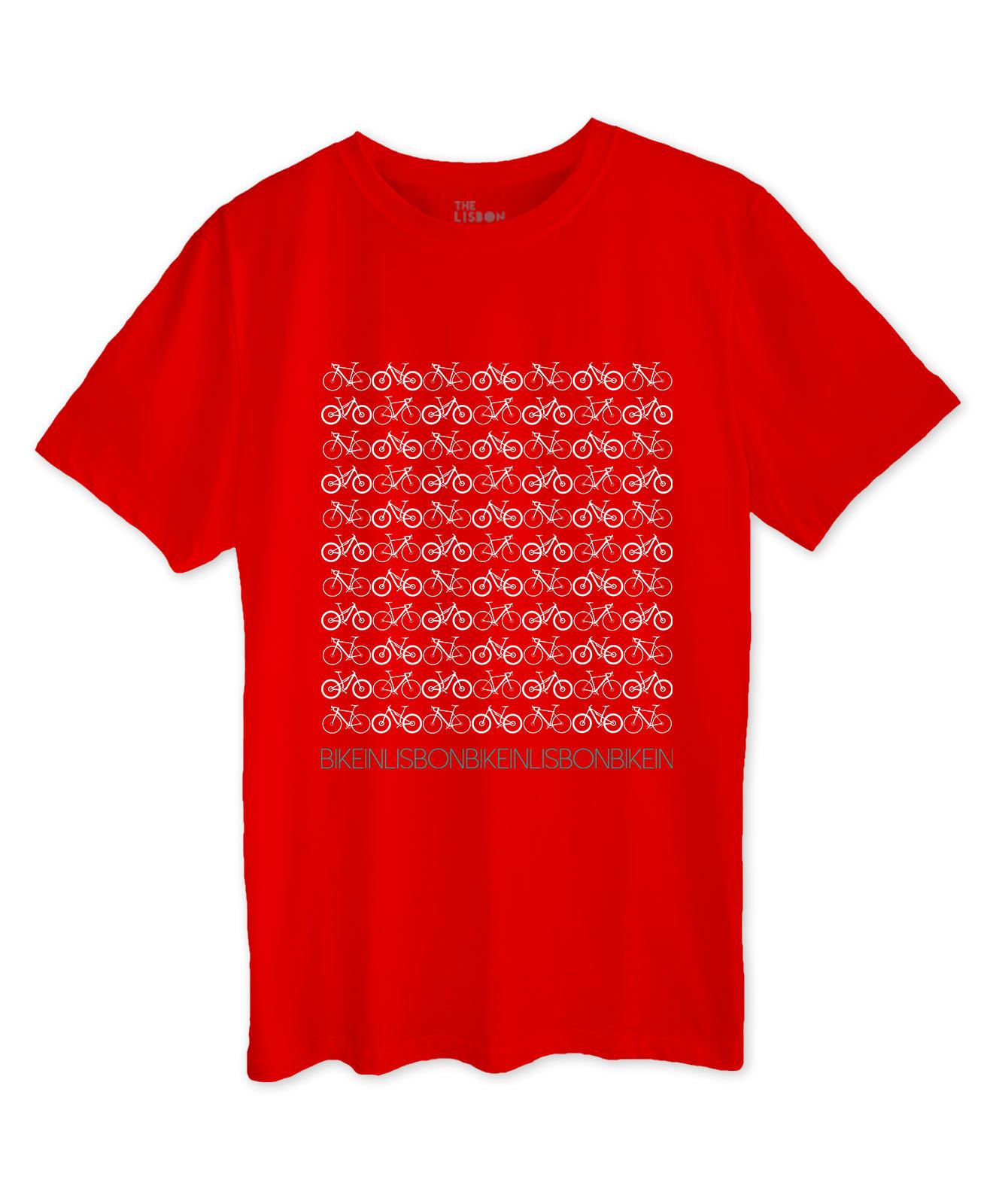 Bike in Lisbon Red T-shirt white printing