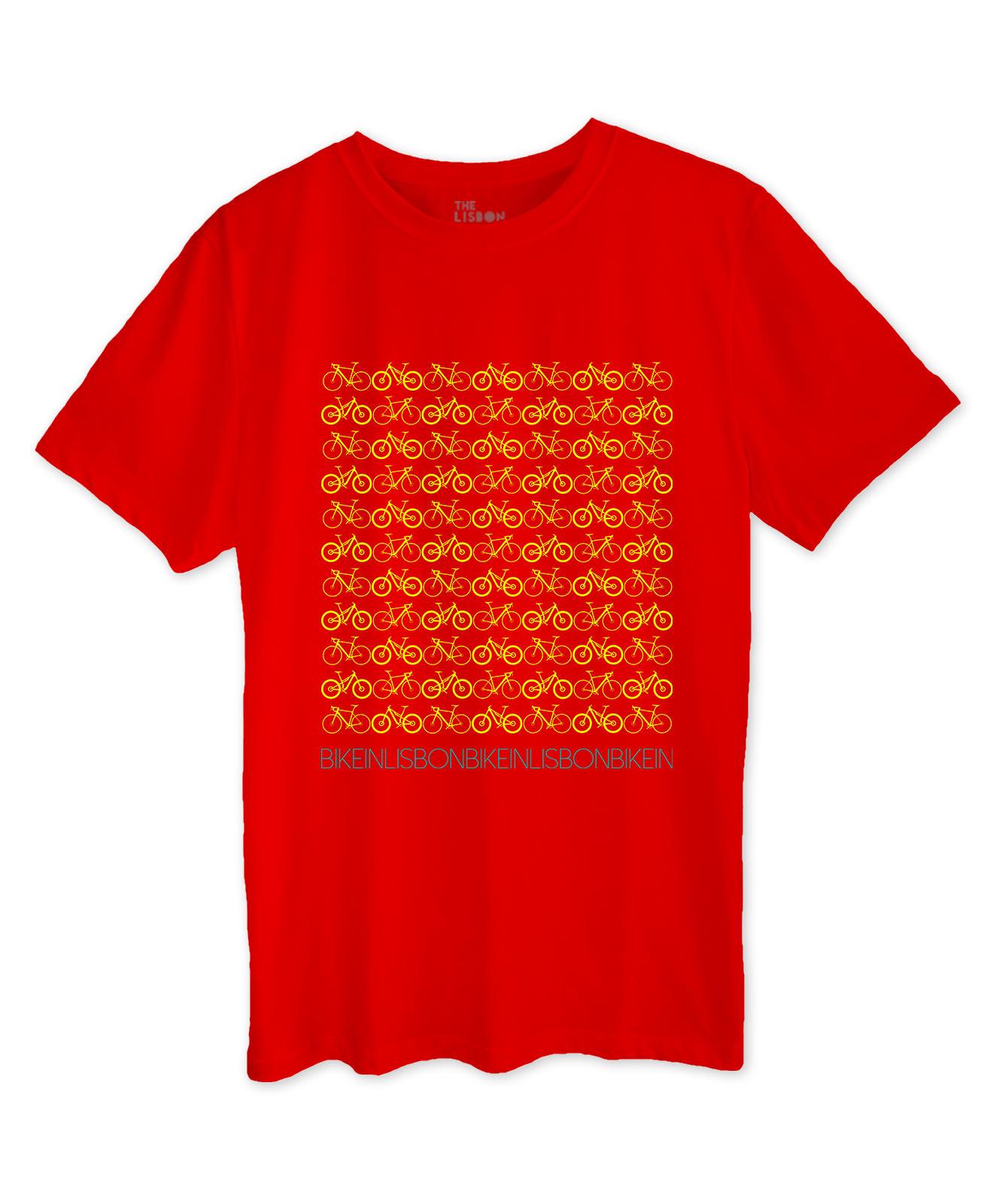 Bike in Lisbon Red T-shirt yellow printing