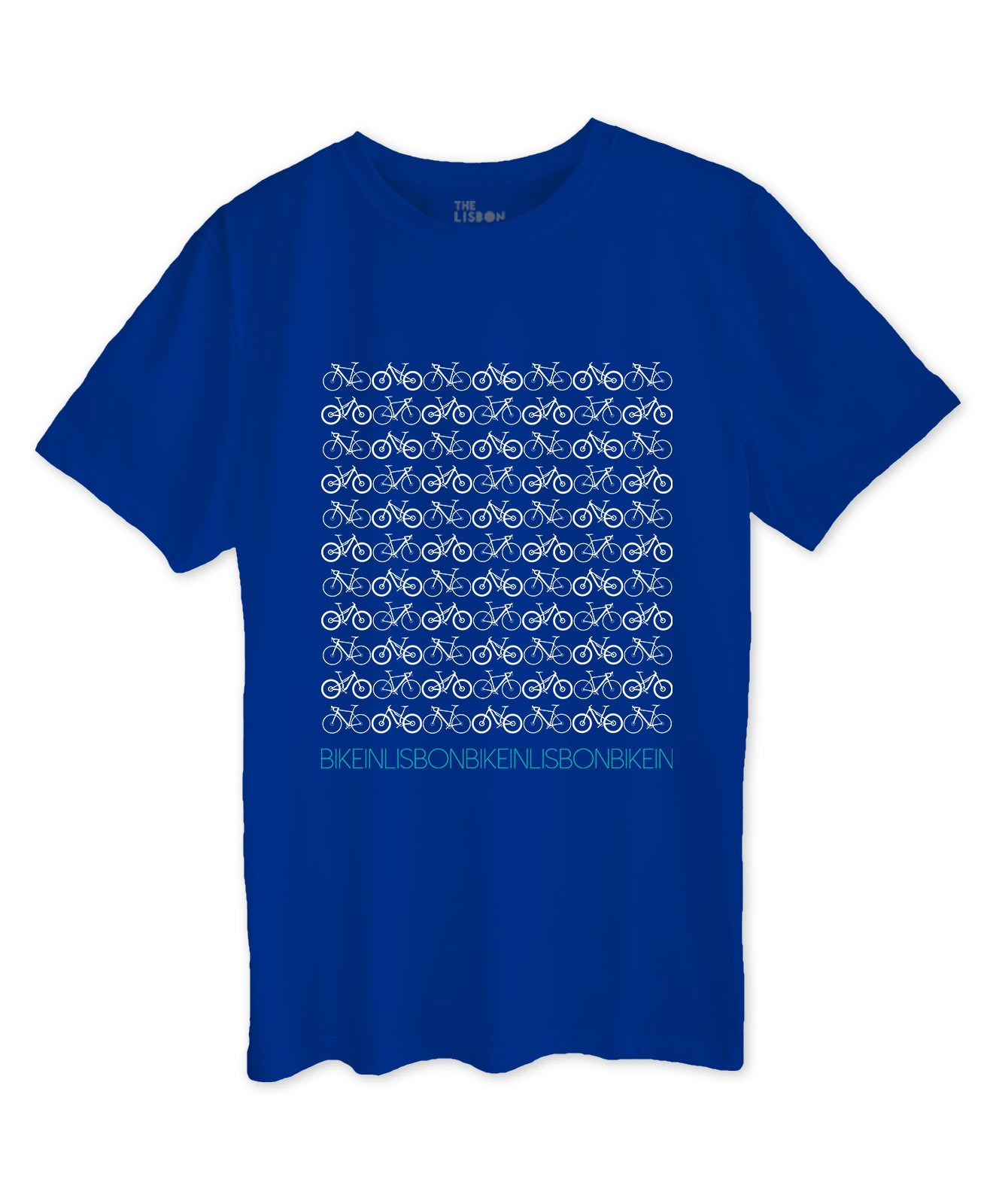 Bike in Lisbon Royal Blue T-shirt white printing