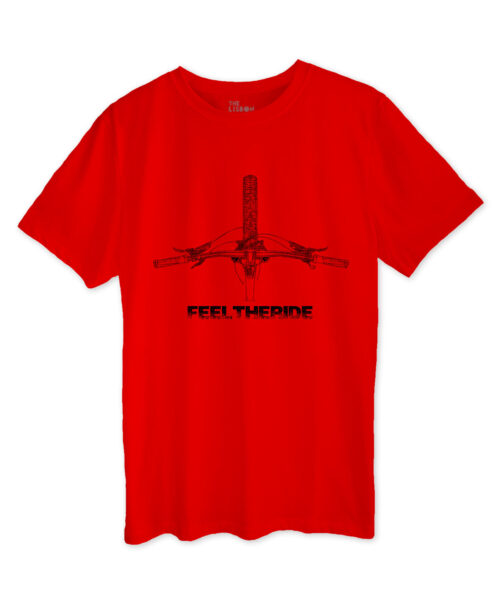 MTB Bike Handlebar Red T-shirt black printing
