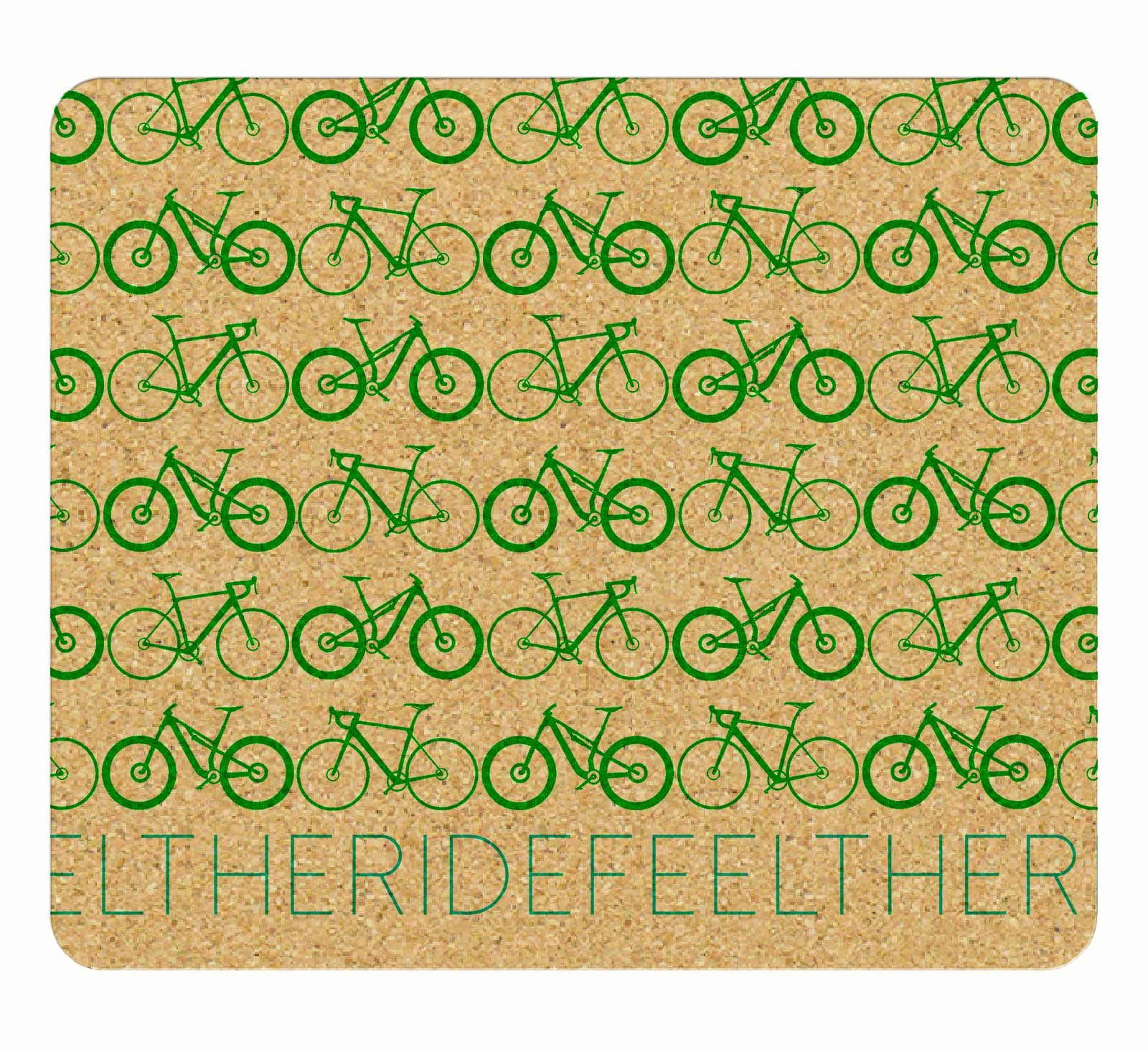 Mini Bikes Cork Mousepad green printing