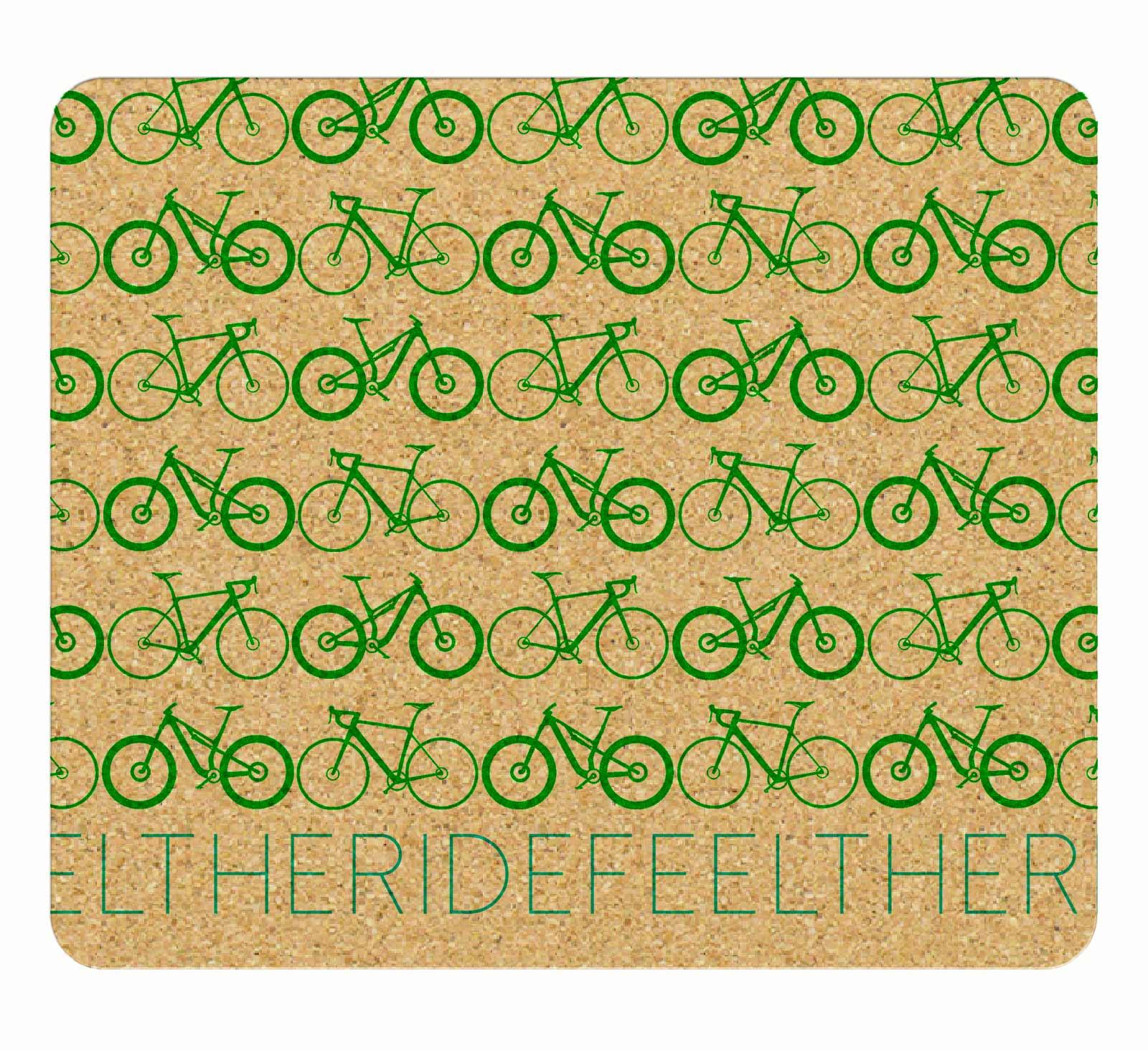 Mini Bikes Cork Mousepad green printing