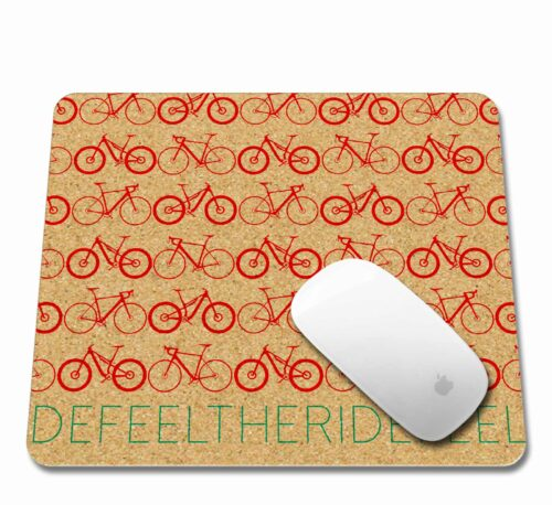 Mini Bikes Cork Mousepad with mouse red printing