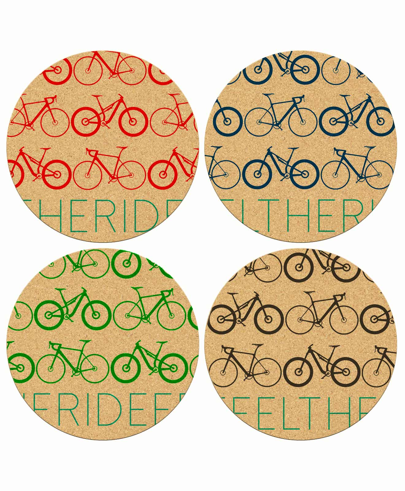 Mini Bikes Round Coasters coark made
