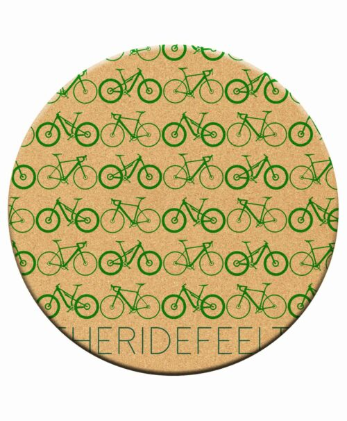Mini Bikes Cork Trivet green printing.