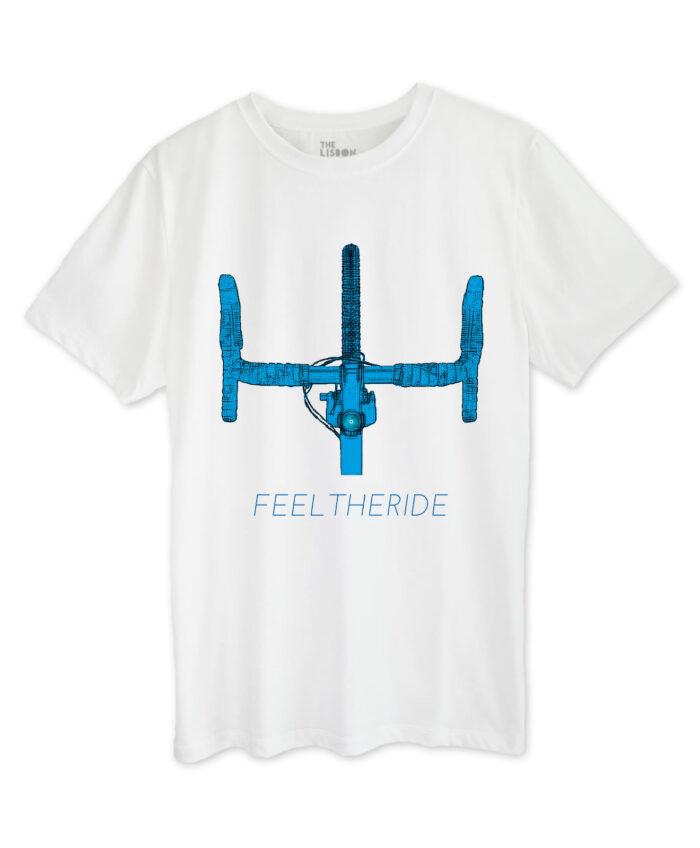 Road Bike Handlebar White T-shirt blue printing