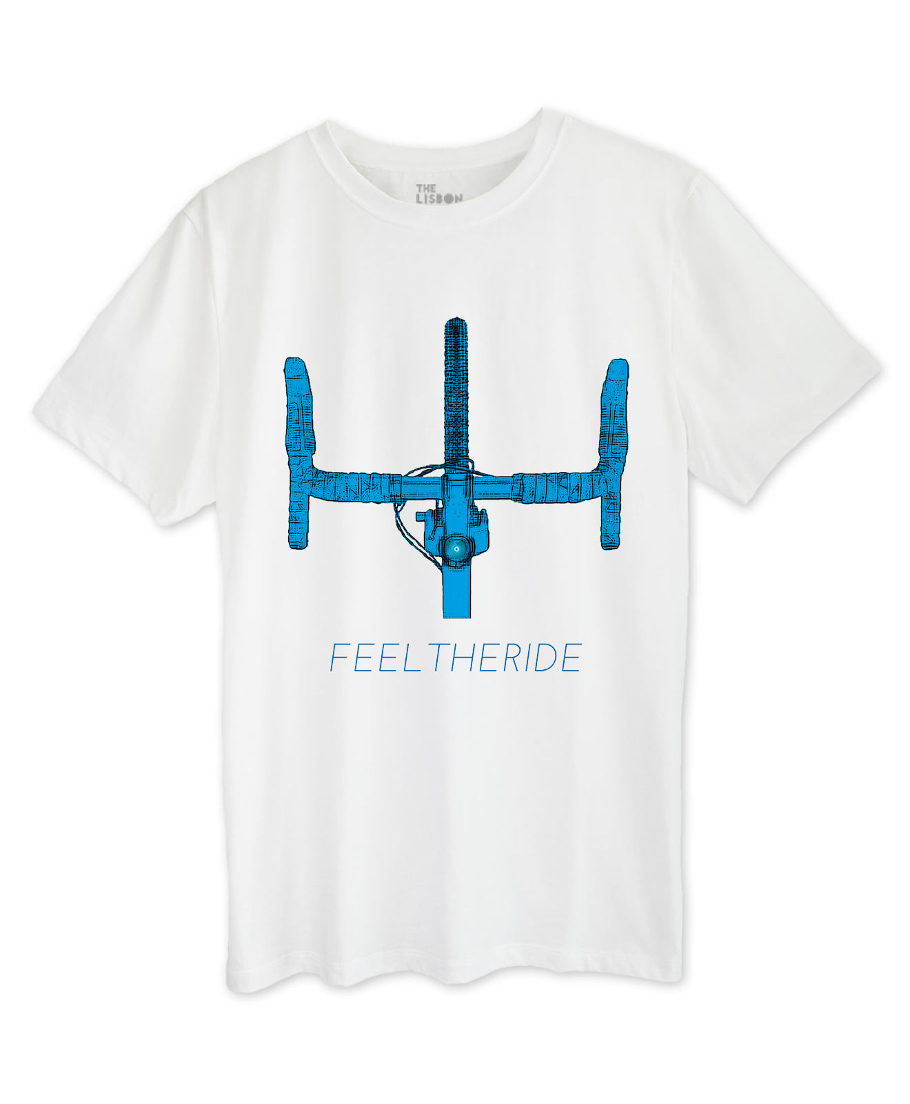 Road Bike Handlebar White T-shirt blue printing