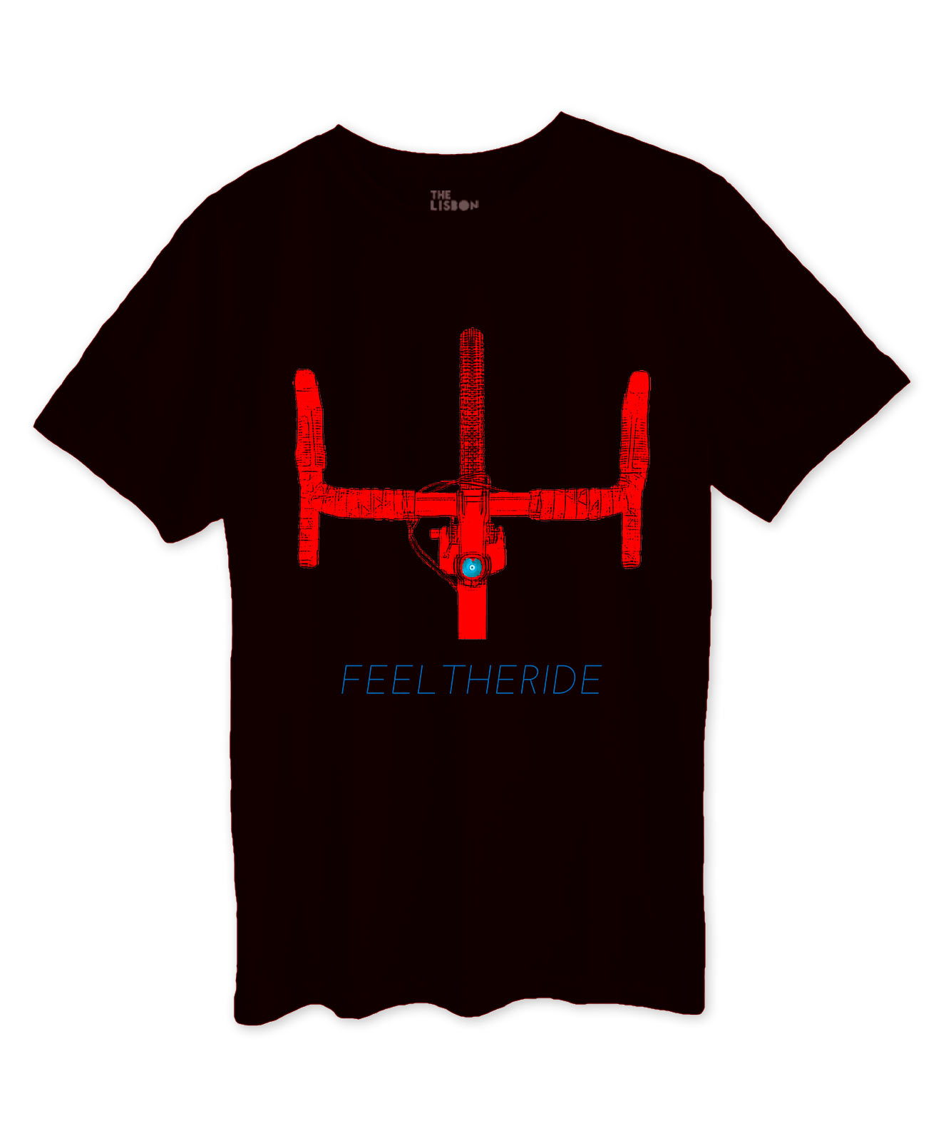 Road Bike Handlebar Black T-shirt red printing