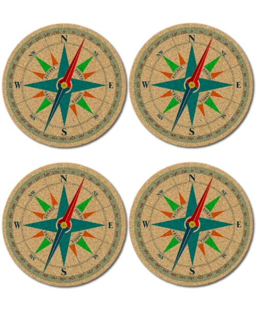 wind rose cork coasters