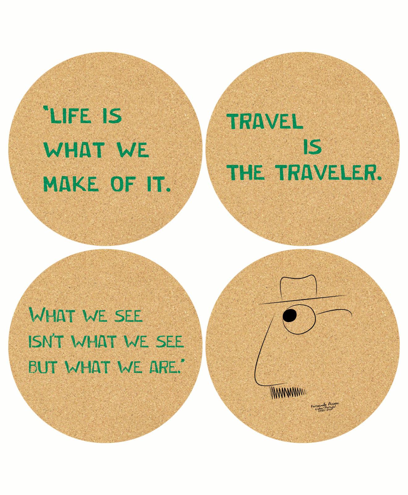 Pessoa's Life Cork Coasters
