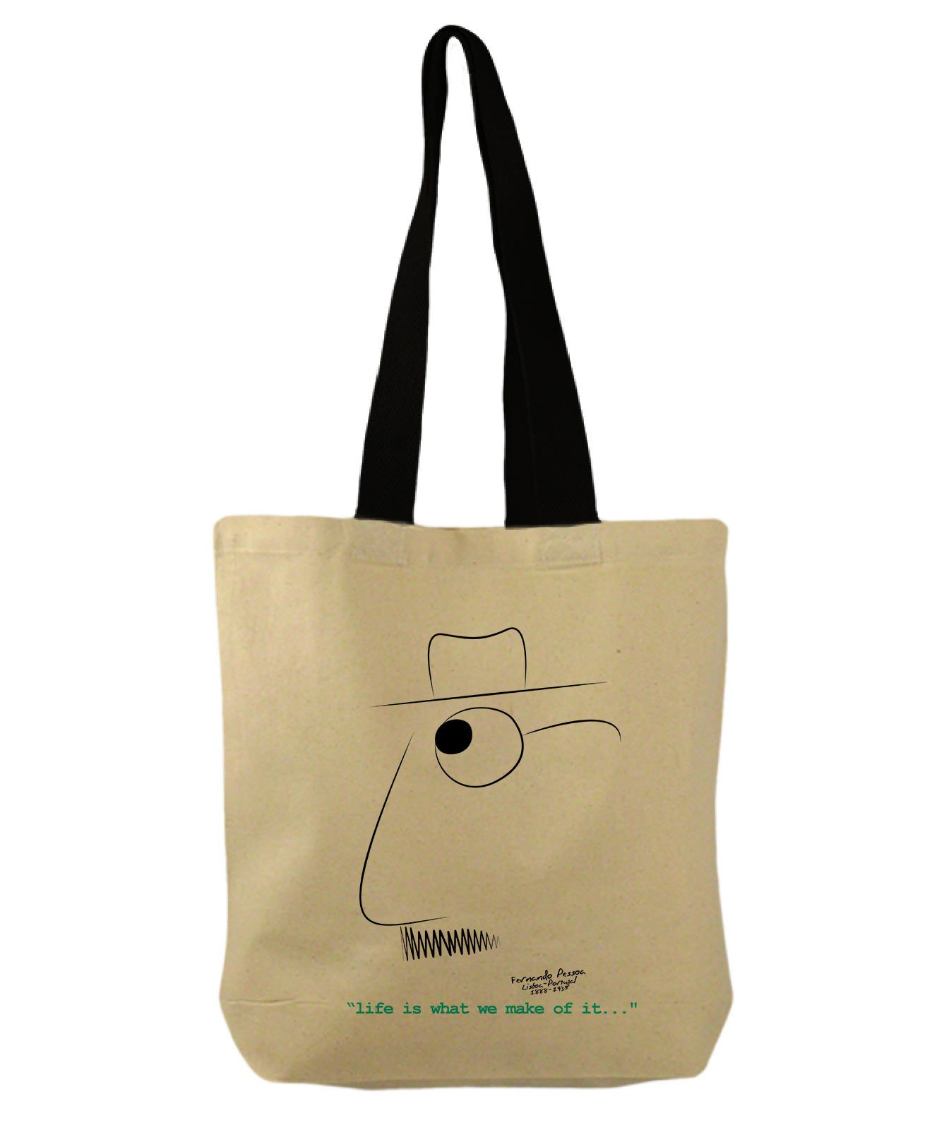 Pessoa's Life Bucket Bag with quote and the poet cartoon