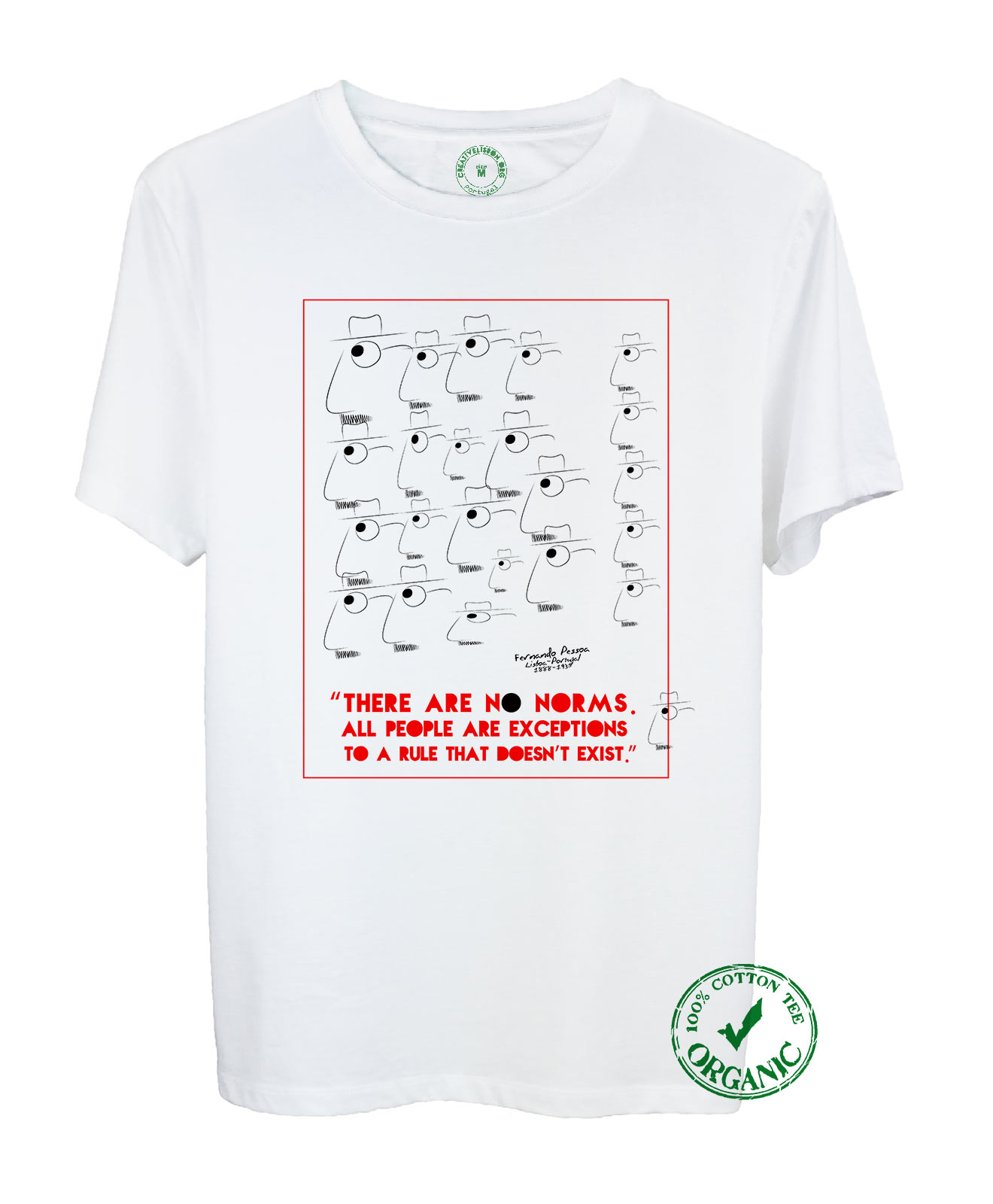 Pessoa's No Norms Organic Cotton Tee with quote and the poet cartoon