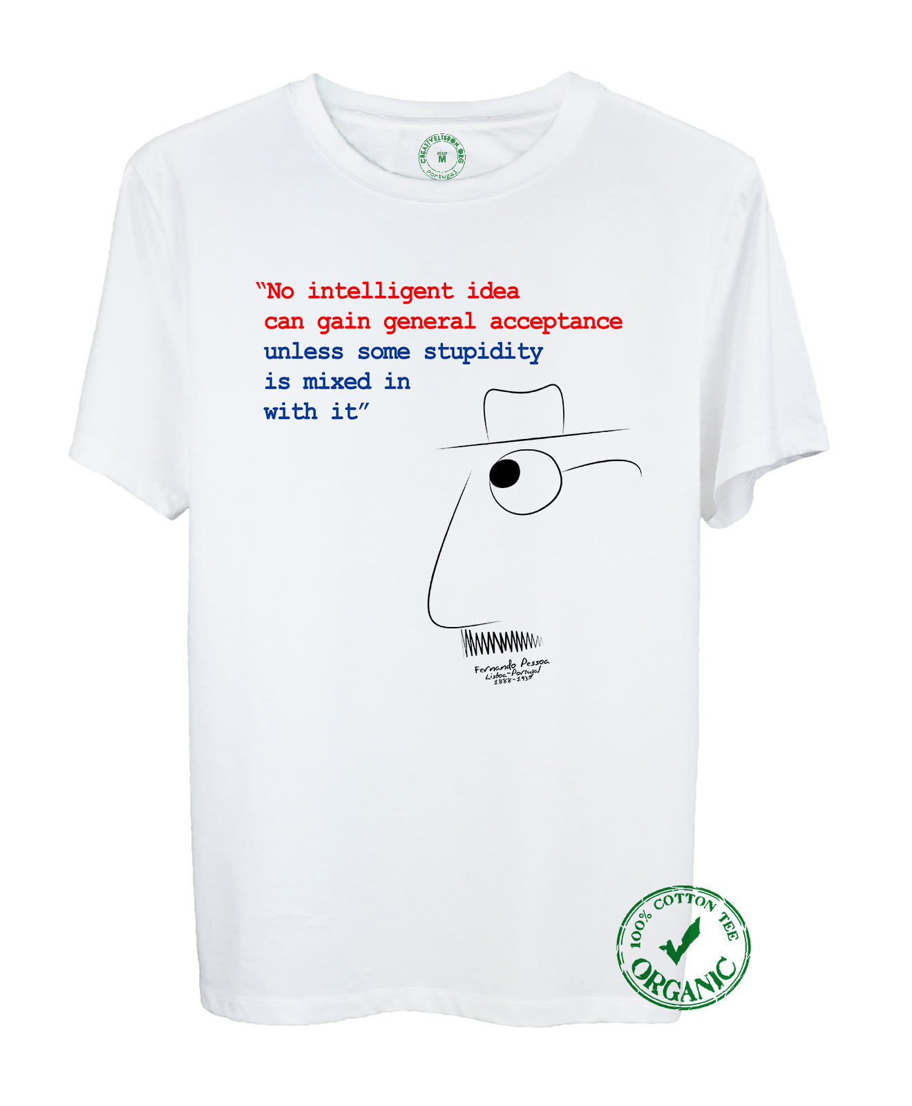 Pessoa's Idea Organic Cotton Tee with quote and the poet cartoon