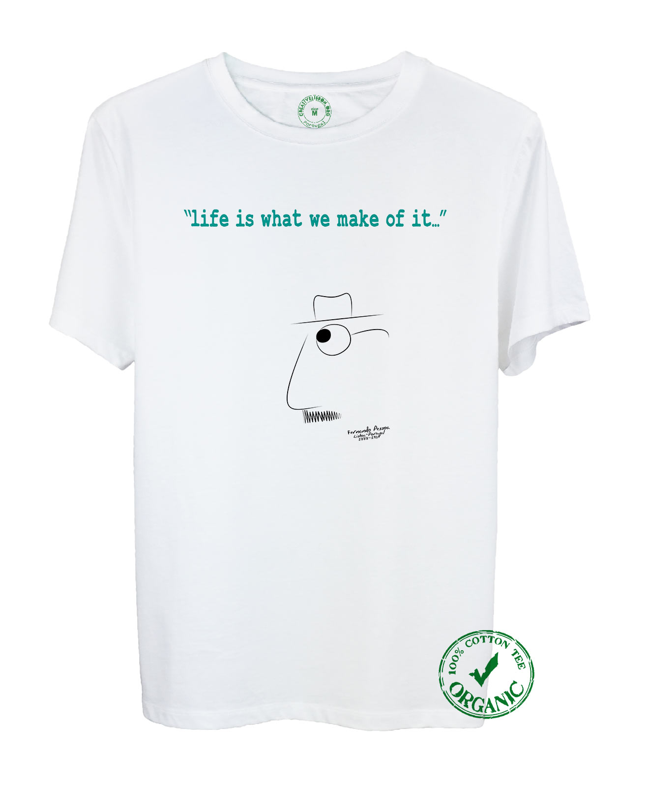 Pessoa's Life Organic Cotton Tee with quote and the poet cartoon