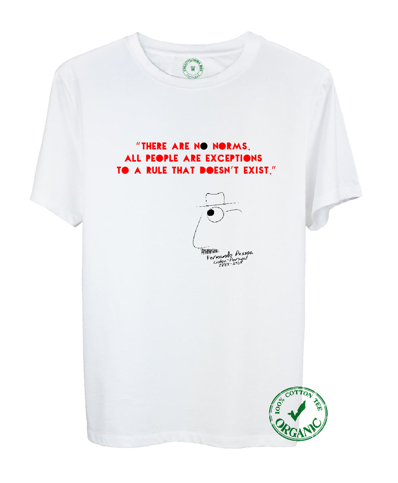 No Norms Organic Cotton Tee with quote and the poet cartoon