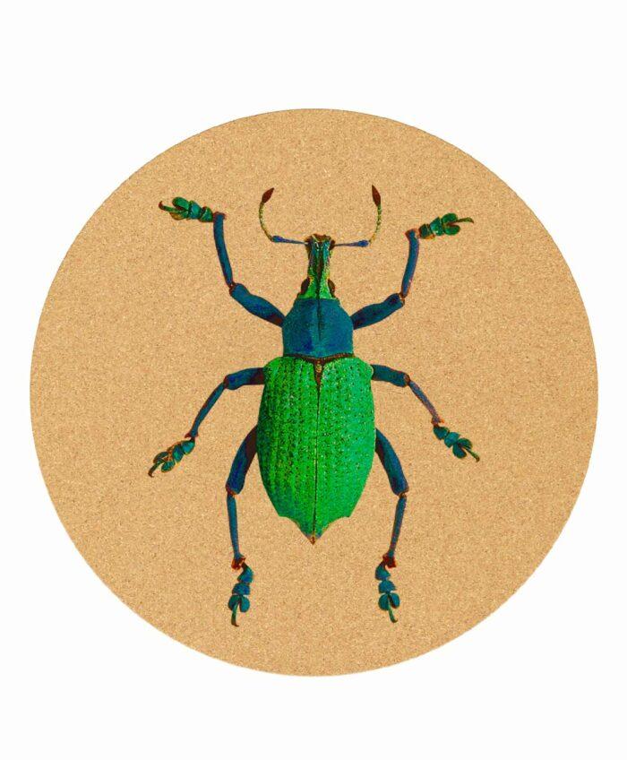 Friday Bug cork mousepad round