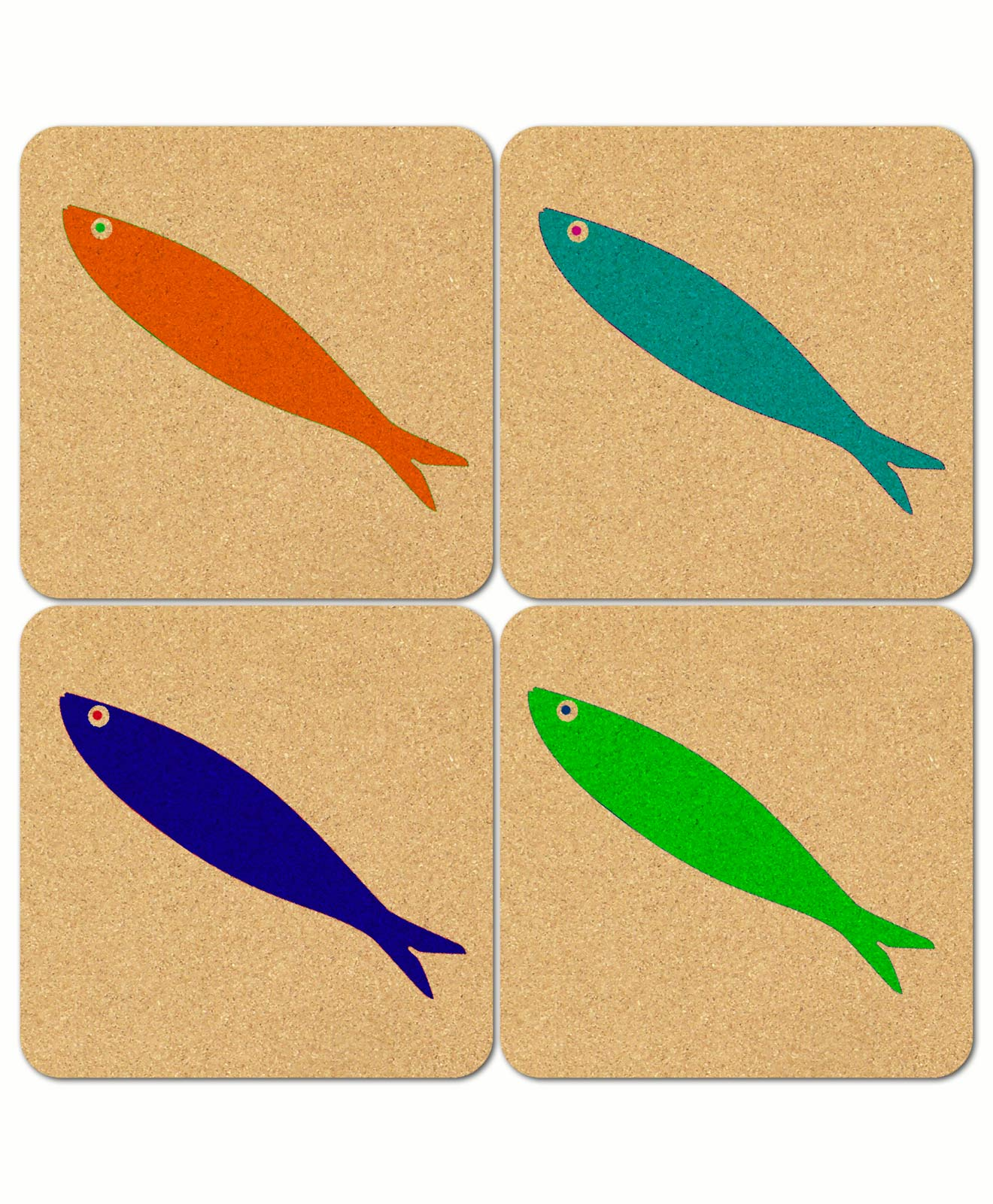 Lonely Sardine Cork Coasters