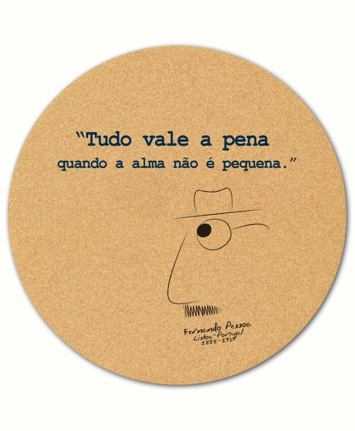 Pessoa's Alma round cork mousepad with quote and the poet cartoon