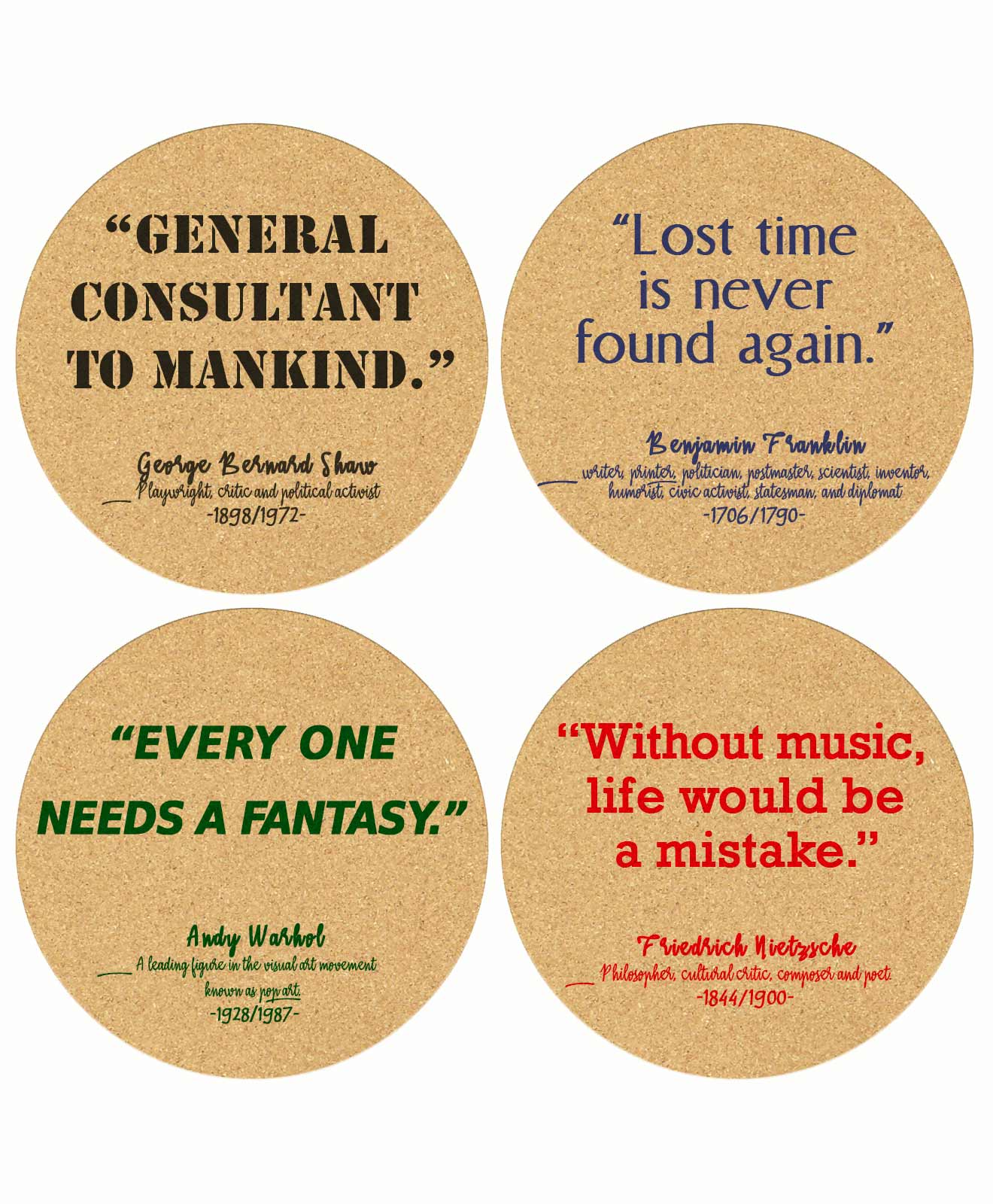 Cork Coasters Life Quotes