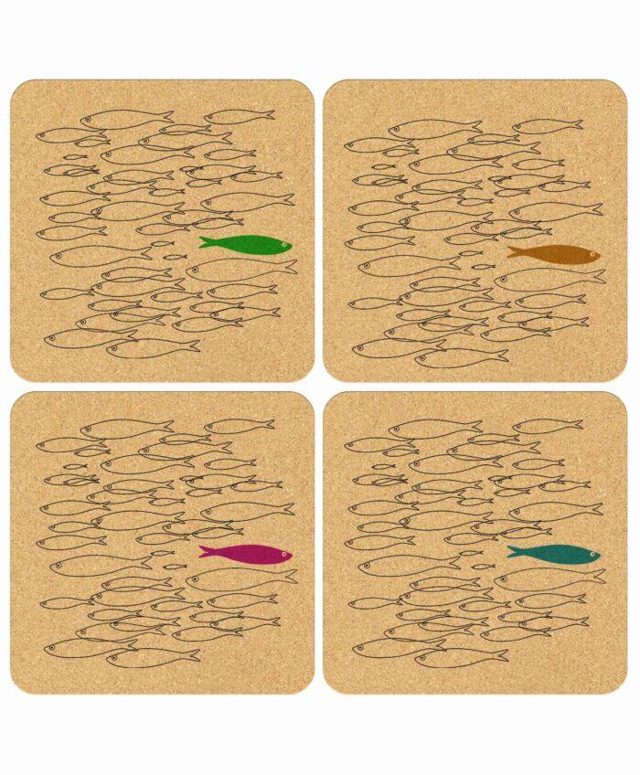 Cork Coasters Color Sardine