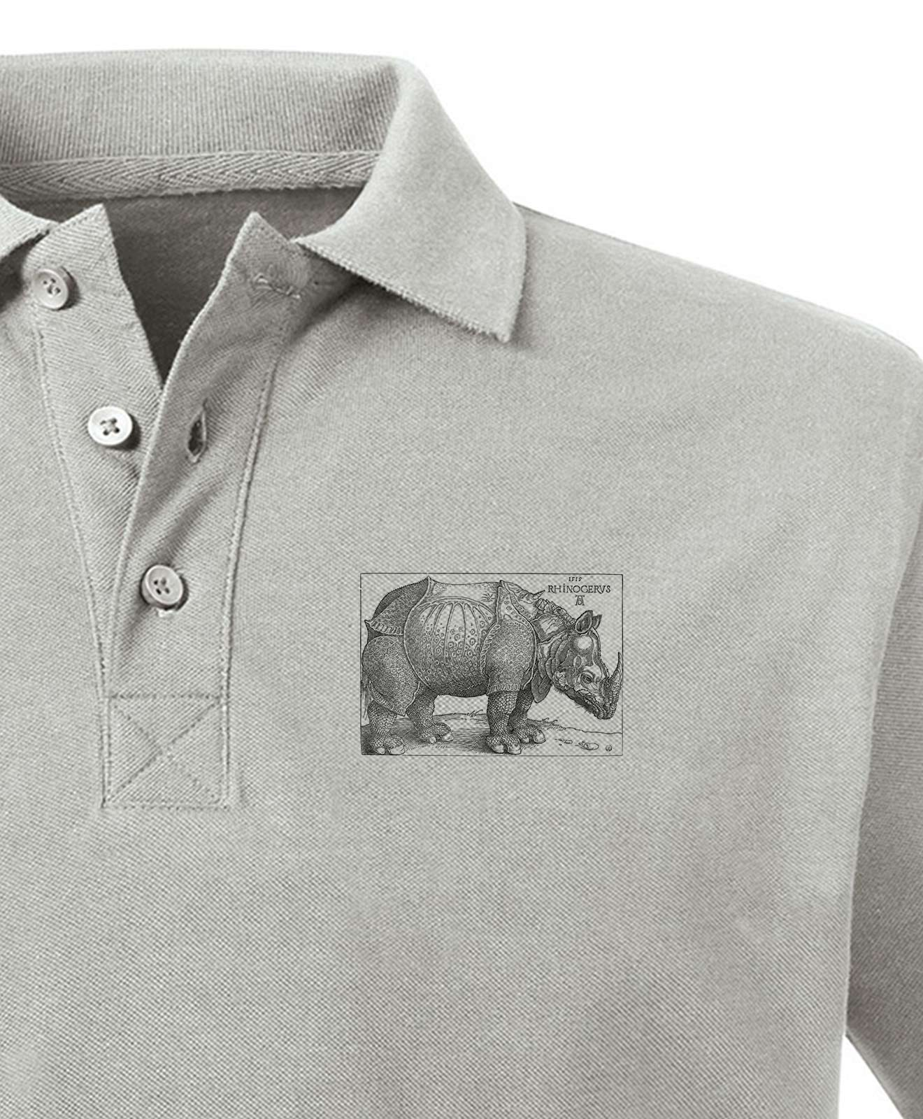 Rhinocerus Organic Polo Shirt color light grey, printing detail