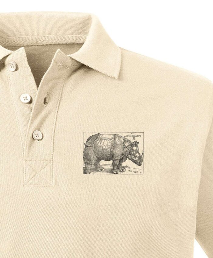 Rhinocerus Organic Polo Shirt color natural, printing detail