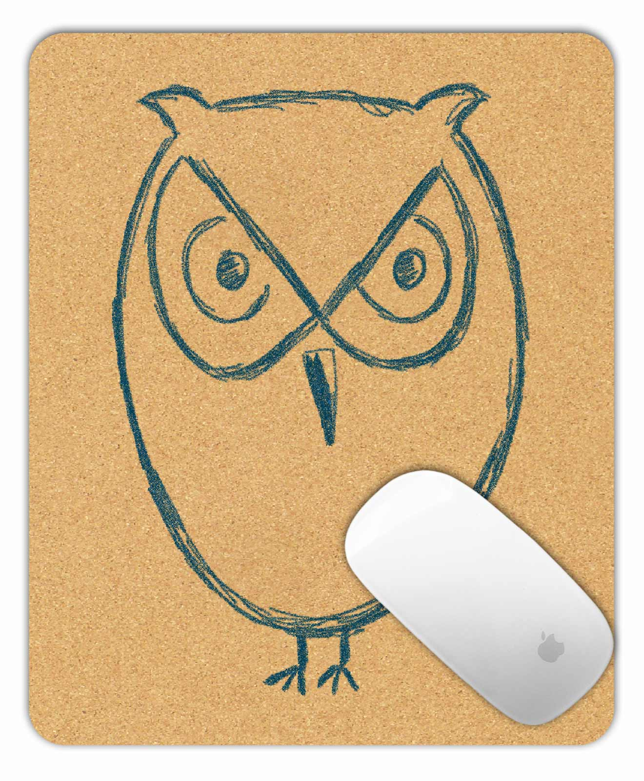Cork Mouse Pad Owl