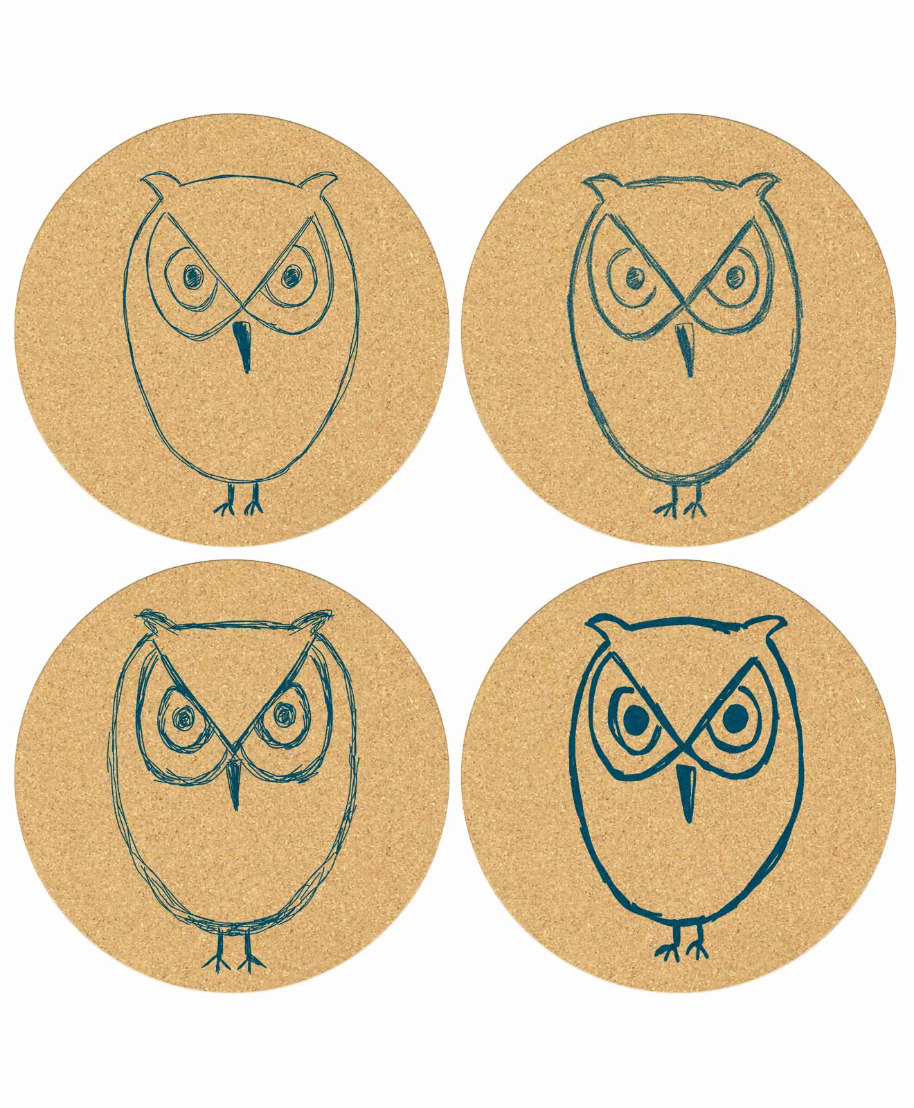 Owl Cork Coasters