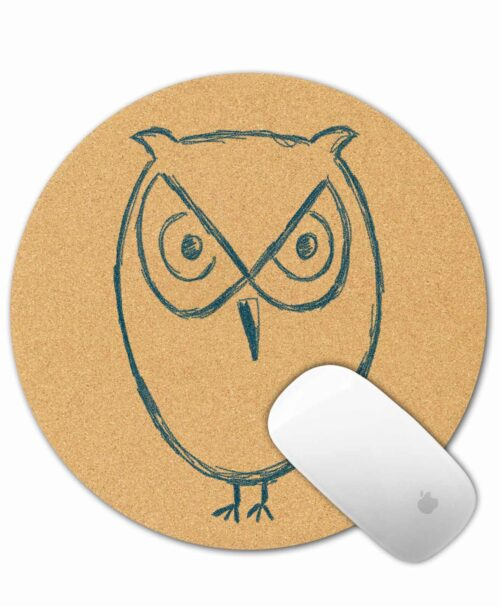 Cork Mouse Pad Owl