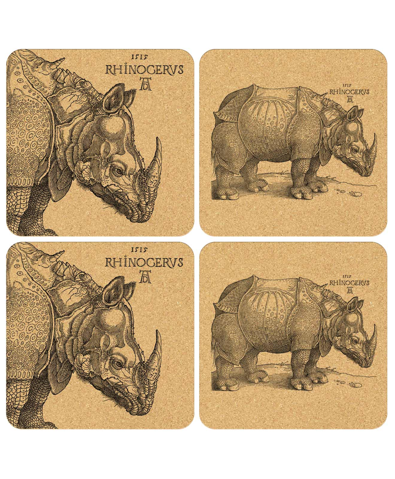 Rhinocerus Cork Coasters