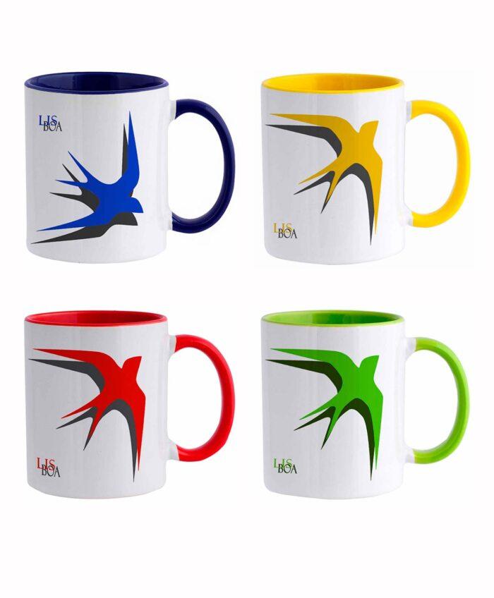 Lisbon Swallow Ceramic White Mug set