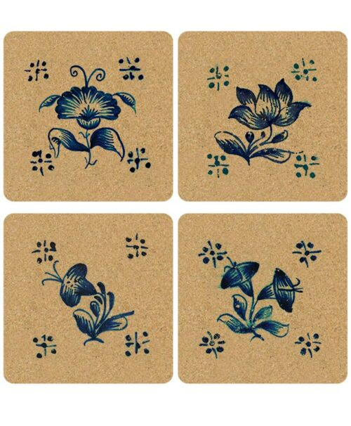 Tile Squared Cork Coasters flowers