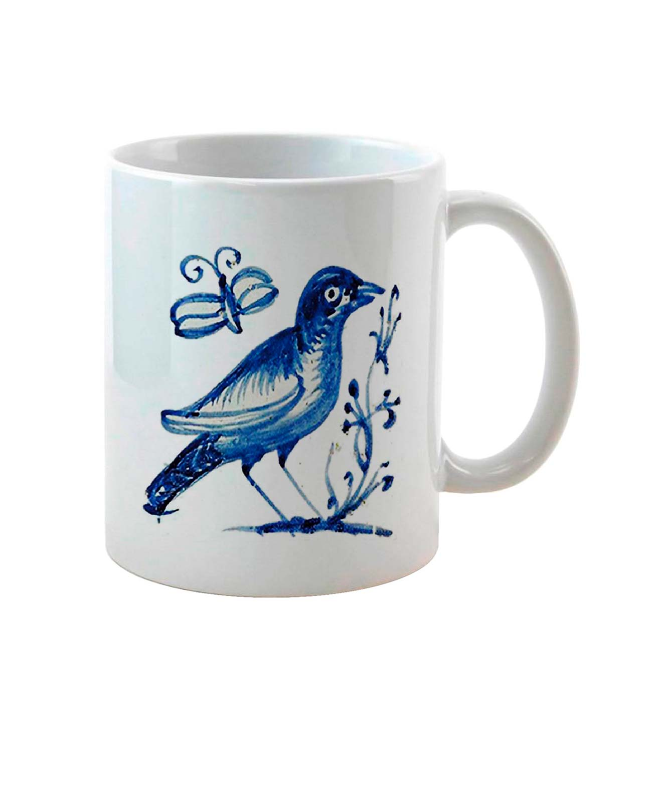 Black bird on Tile Ceramic White Mug