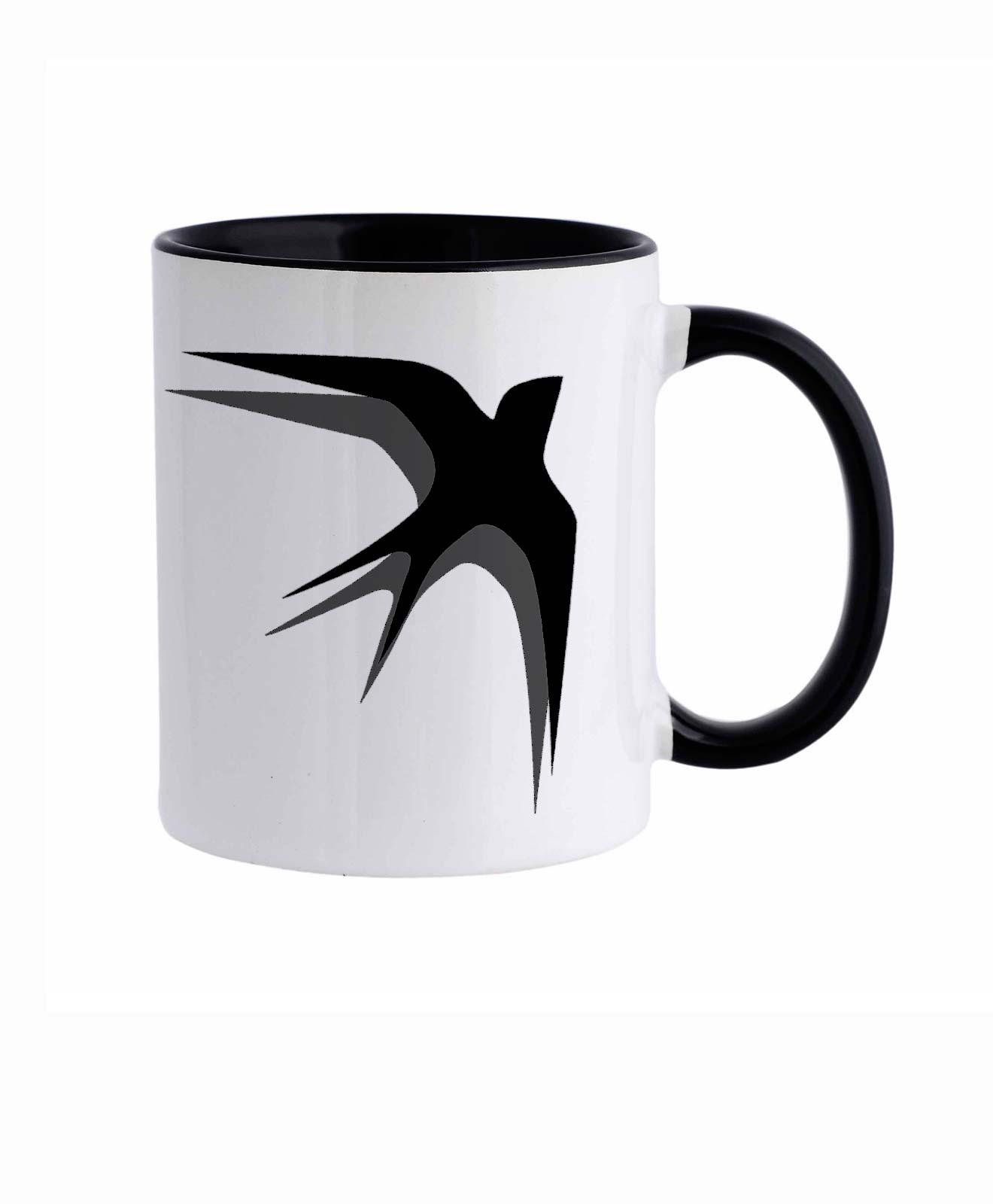 Black Swallows Ceramic White Mug