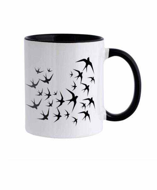 Black Swallows White Mug