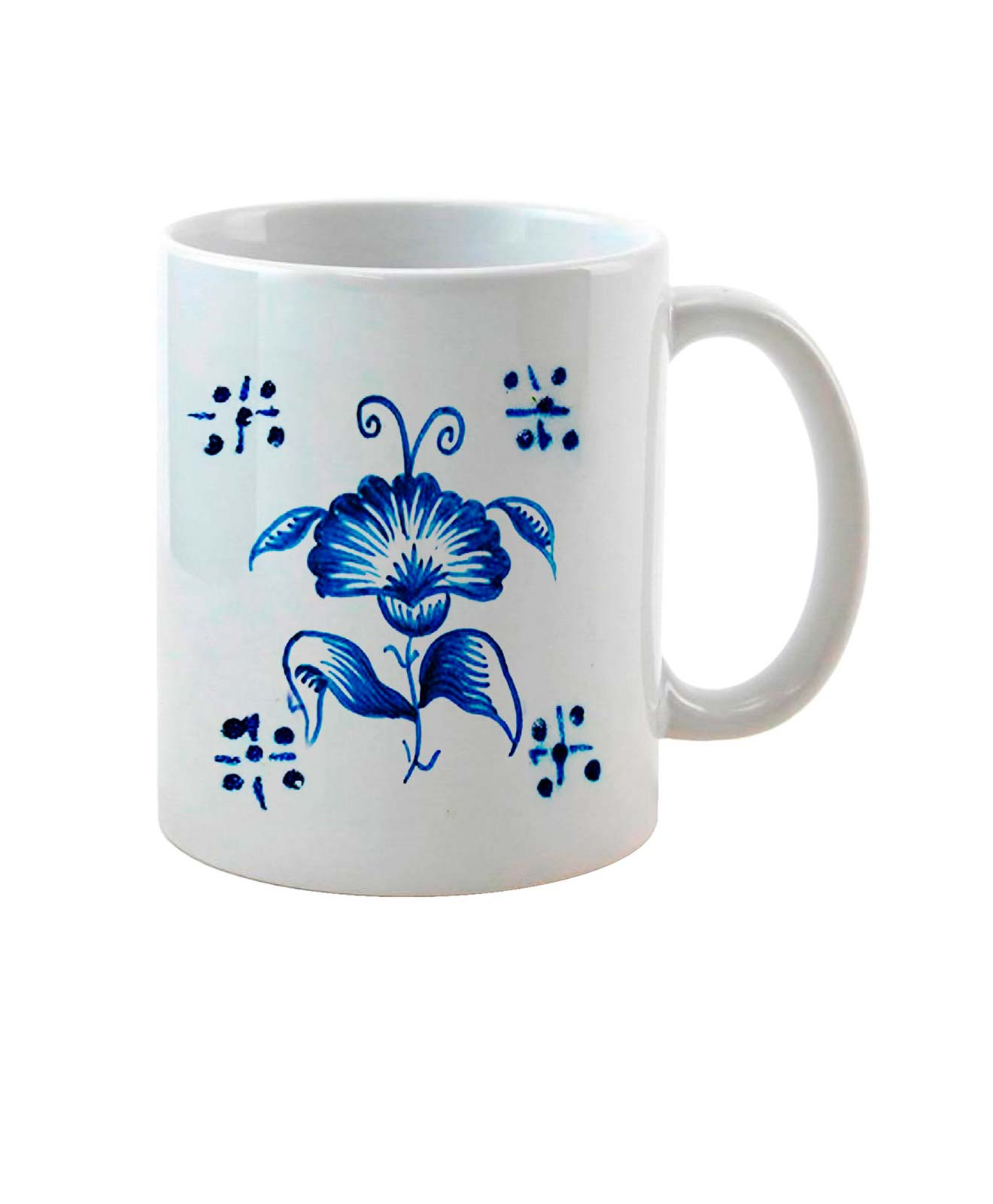 Carnation on Tile Ceramic White Mug