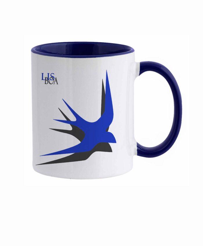 Lisbon Swallow ceramic white mug