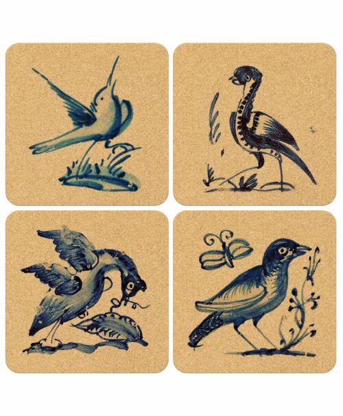 Birds on Tile Squared Cork Coasters