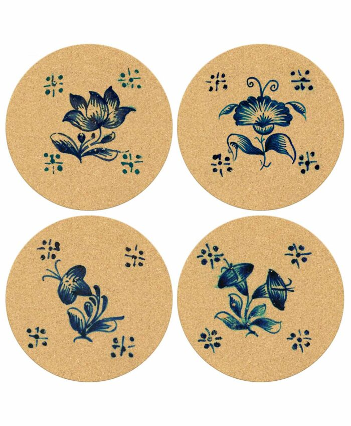 Tile Round Cork Coasters Flowers