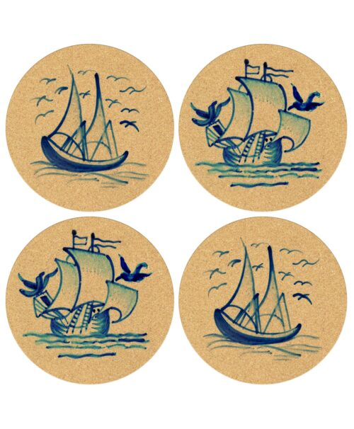 Tile Boats Cork Coasters