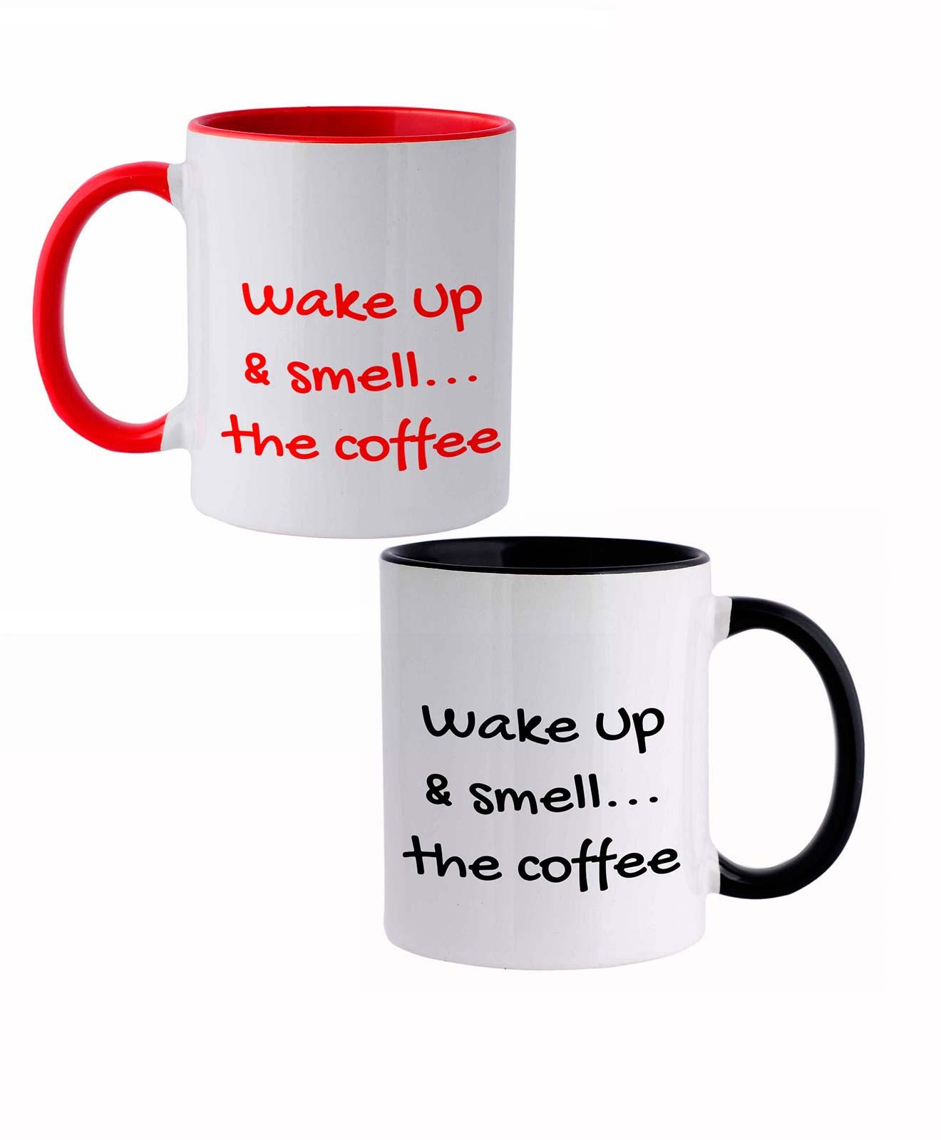 Wake Up and Smell the Coffee Ceramic White Mug set