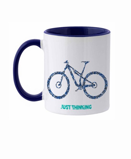 Bike Ceramic White Mug MTB blue bike