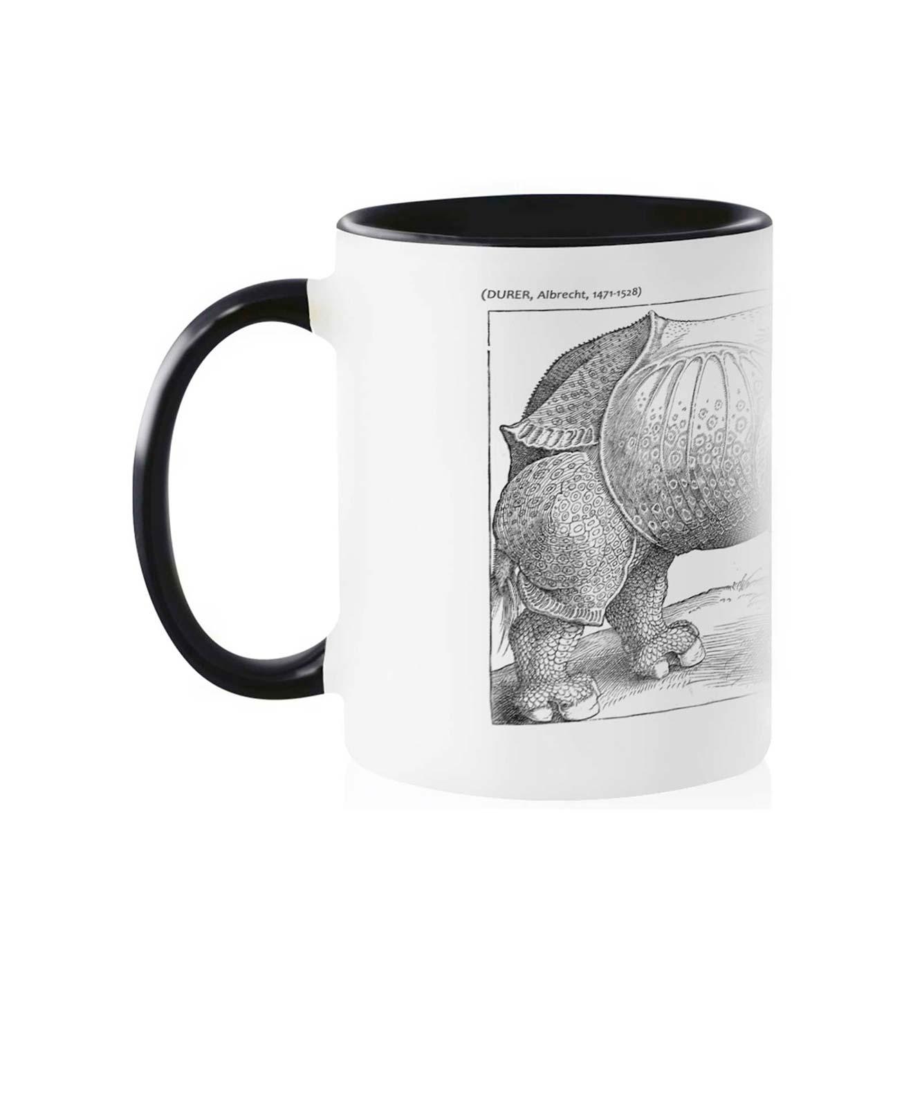 Rhinocerus Ceramic White Mug